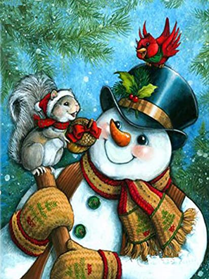Christmas Paintings For Kids.Amazon Com Sttech1 Oil Santa Claus And Christmas Snowman