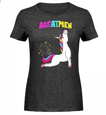 GroBartig Hochwertiges Damen Melange Shirt   Einatmen Ausatmen Einhorn Yoga Unicorn  Einhörner Regenbogen Geschenkidee Lustig Spruch Motiv