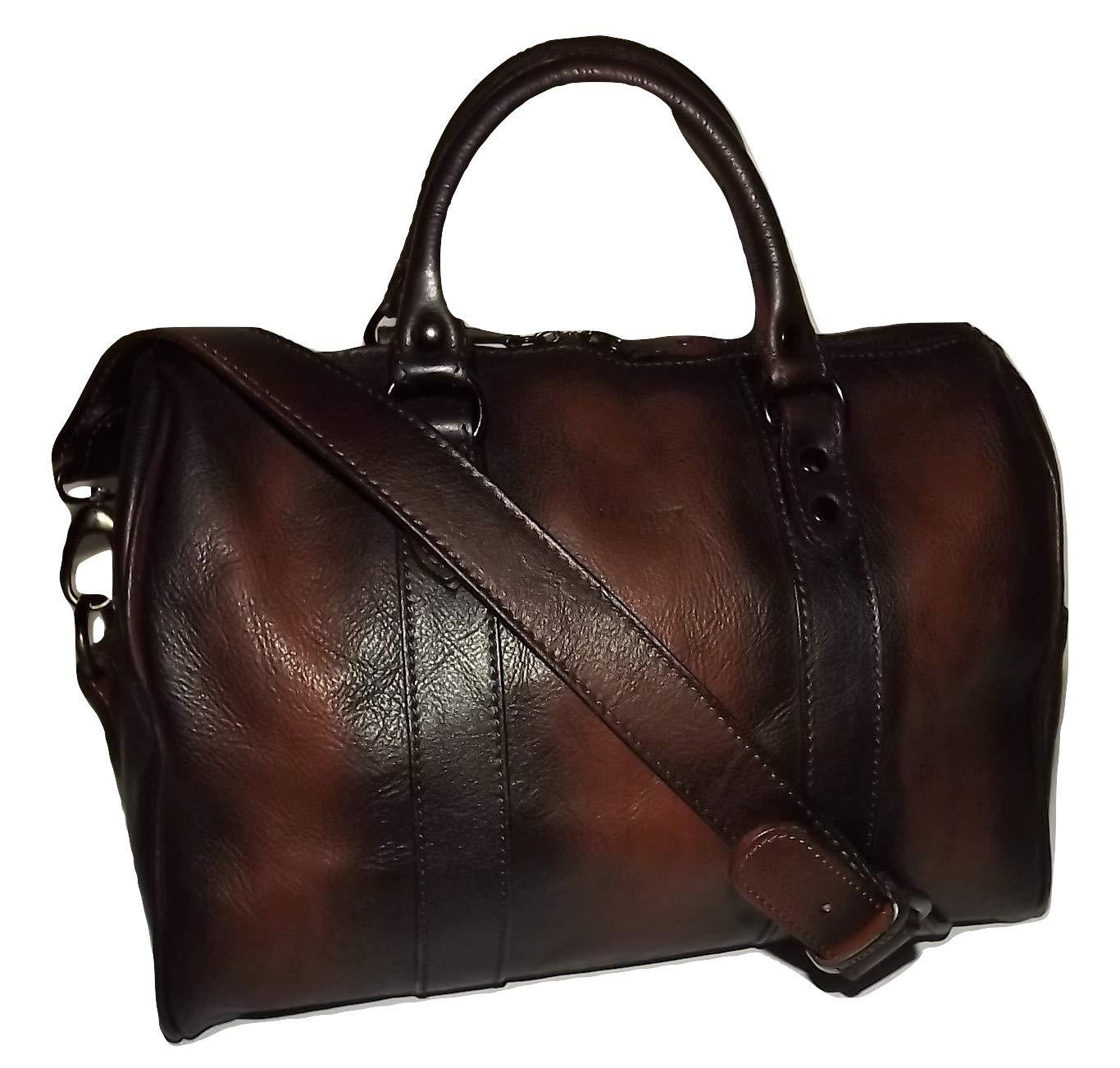 I Medici of Florence Women's Vintage Italian Leather Satchel Handbag Antique Cognac