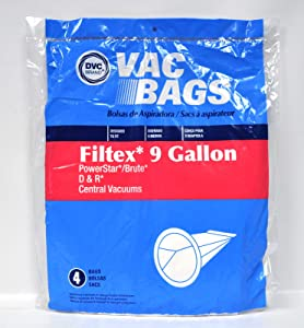 DVC Filtex 9 Gallon PowerStar and D and R Central Vacuum Bags