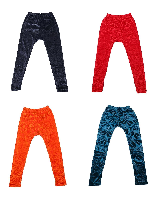 Indistar Kids Embossed Multicolor Leggings Combo Pack of 4