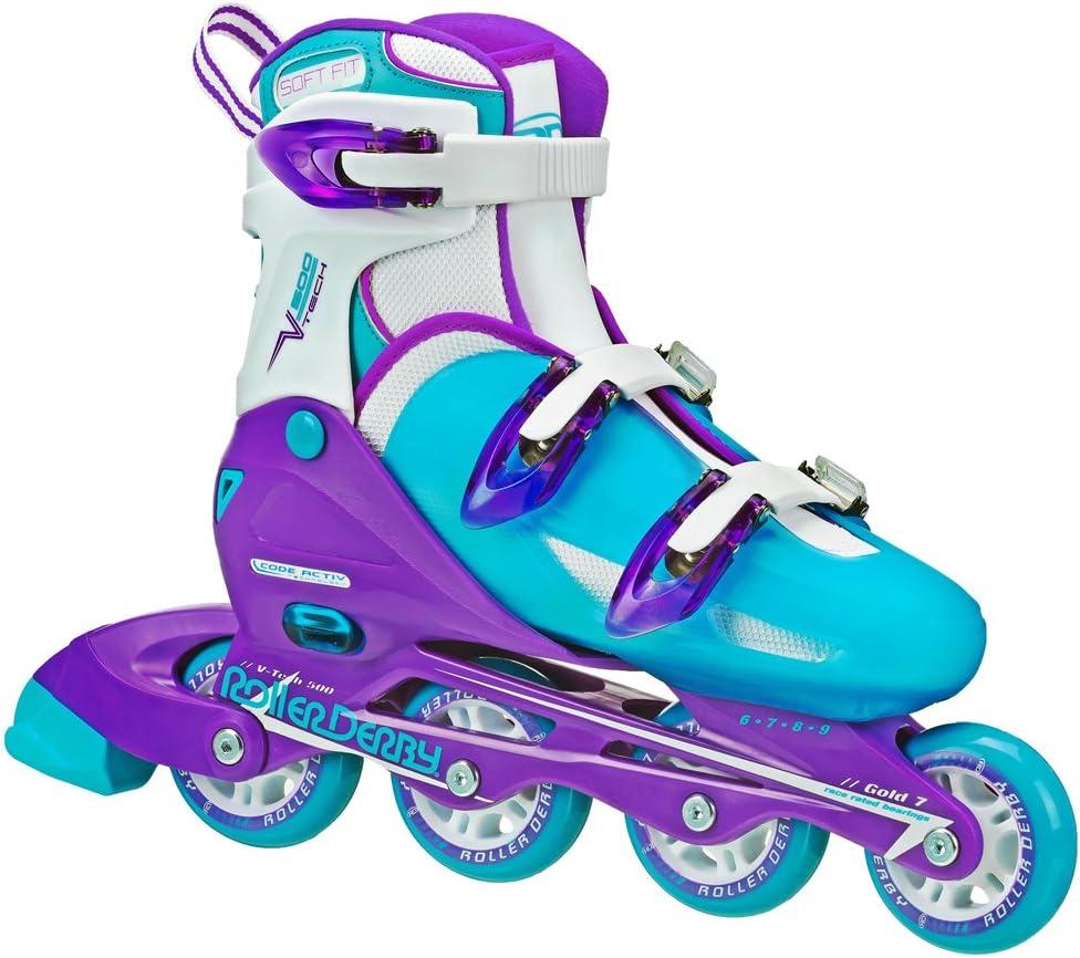 轮滑德比女子V-Tech 500按钮可调直排溜冰鞋