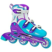 Roller Derby Women's V-Tech 500 Button Adjustable Inline Skate, Blue/Purple, Size 6-9