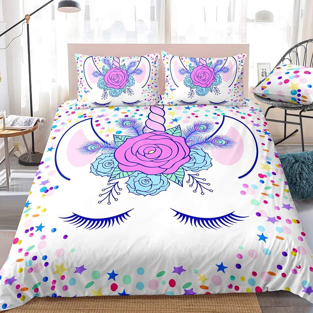 Merryword Lavender Unicorn Bedding Set Flowers Face Duvet Cover Set Purple Cartoon Girls Lash Design Colorful Unicorn Bedding Sets Queen 1 Duvet Cover 2 Pillowcases (Queen, Unicorn 7)