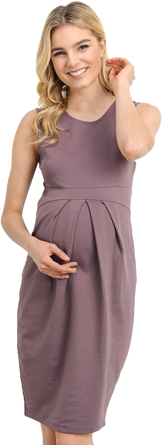LaClef Women's Knee Length Midi Maternity Dress with Front Pleat