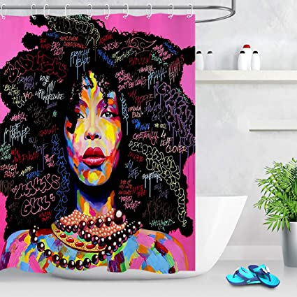 LB Abstract Afrocentric Shower Curtain Hairstyle African Woman With Afro Print American Curtains Sets