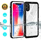 iPhone X Case, iPhone X Waterproof Case, Dustproof Snowproof IP68 Certified Underwater Full Body Protective Phone Cover With Built-in Screen Protector For iPhone 10/iPhone X (Black White)
