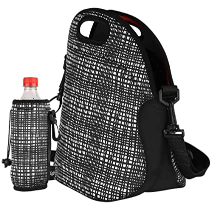 9ad4be53de Insulated Lunch Tote Bag with Zipper   Shoulder Strap + Matching Water  Bottle Holder. Large