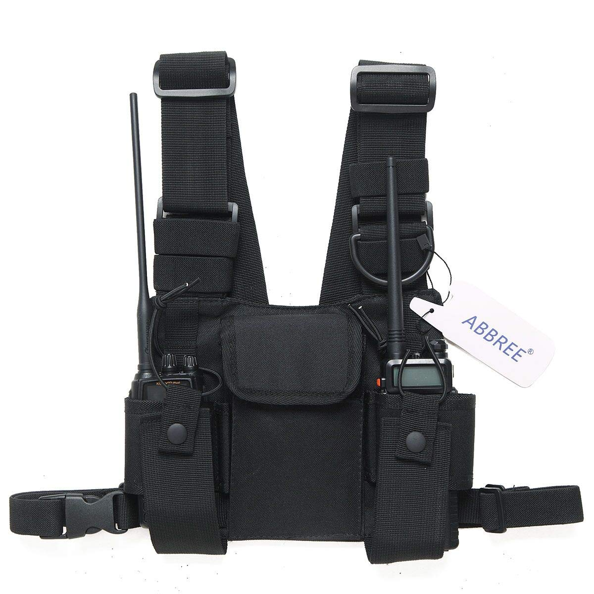 Abbree Front Pack Pouch Holster Vest Rig Chest Bag Carry Case for Baofeng Two Way Radio UV-5R BF-F8HP UV-82 TYT Motorola Midland (Black)