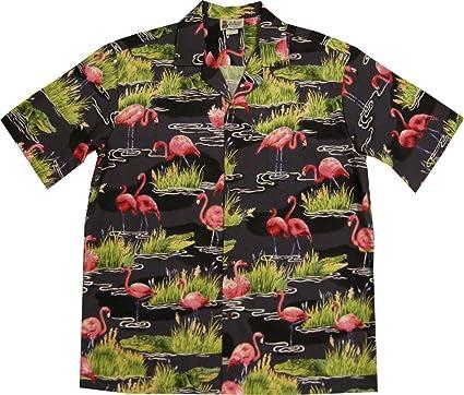 ed120affcf Flamingo Alligator Crocodile Men s Hawaiian Shirt at Amazon Men s ...