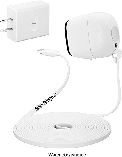 Weatherproof- Flat- Quick Charge Arlo Pro Arlo Pro 2 Online-Enterprises 20 Foot Charging Super Power Cable- Fits Black Charging//Power Cord with Black Plug Indoor//Outdoor Compatible