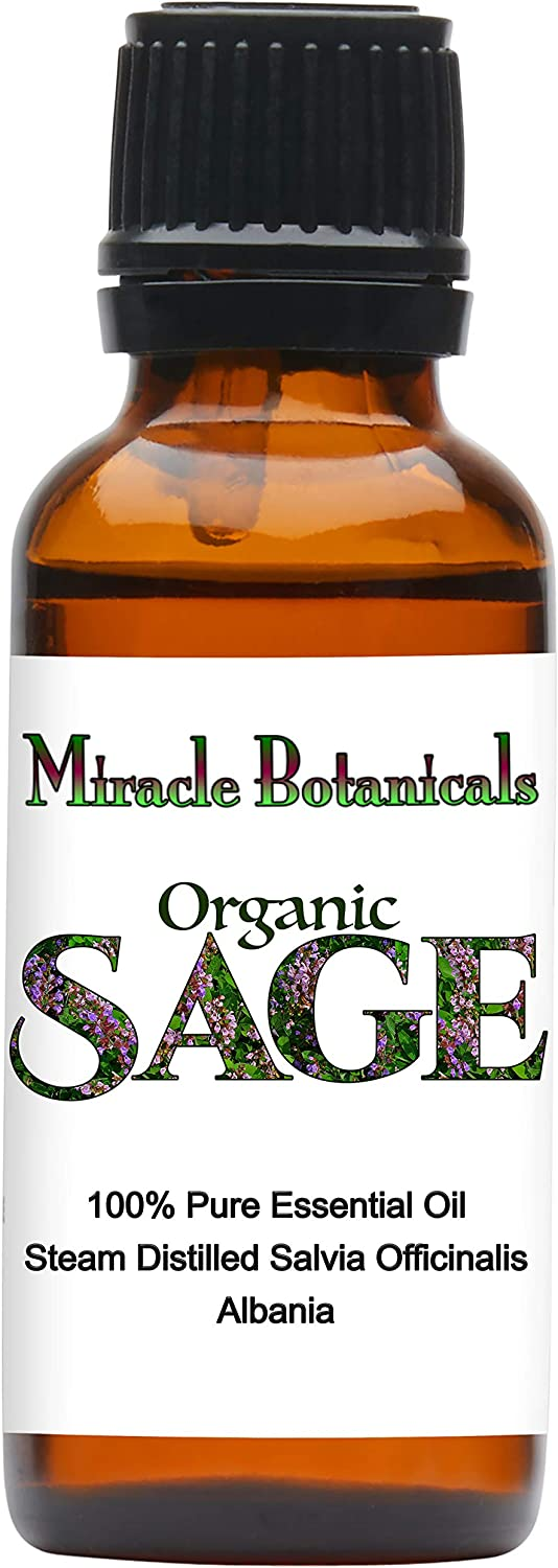 Miracle Botanicals Organic Sage Essential Oil - 100% Pure Salvia Officinalis - Therapeutic Grade - 30ml