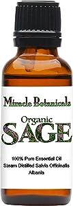 Miracle Botanicals Organic Sage Essential Oil - 100% Pure Salvia Officinalis - Therapeutic Grade - 30ml