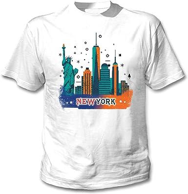 teesquare1st USA New York City Camiseta Blanca para Hombre de Algodon: Amazon.es: Ropa y accesorios