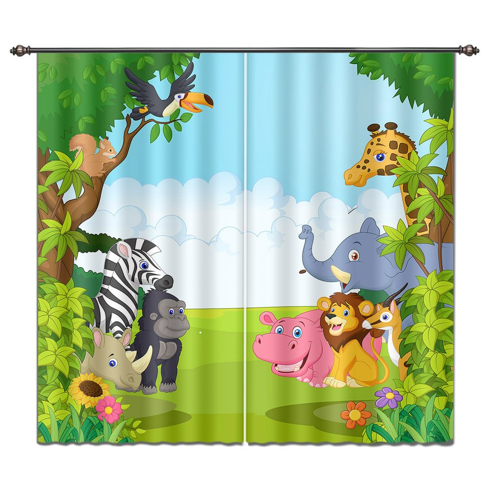 LB Cartoon Animals in Jungle House Decor Window Curtain by, Wildlife Forest Kids Boys Room Curtain Drapes, Living Room Decoration Window Treatment, 55x65 Inches (2 Panels Size)