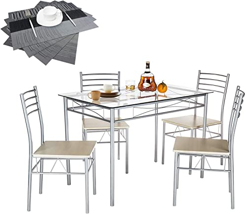VECELO Dining Table with 4 Chairs 4 Placemats Included- Silver