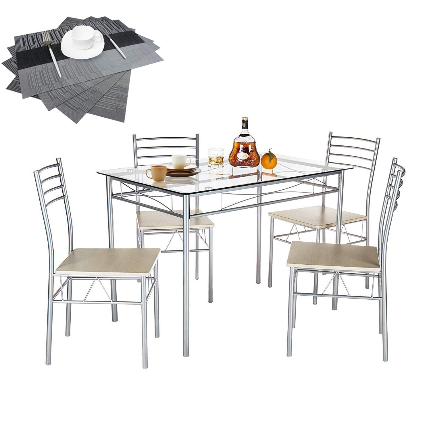 VECELO Dining Table with 4 Chairs [4 Placemats Included-] Silver by VECELO