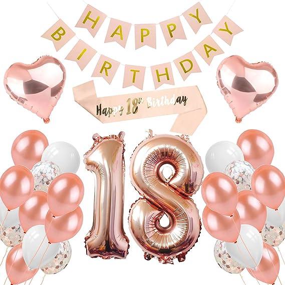 Peipong 18 Geburtstag Dekoration Für Mädchen Rose Gold Ballons Geburtstagsfeier Dekoration Happy Birthday Banner 18 Jahre Alte Rose Gold Geburtstags Dekoration Küche Haushalt