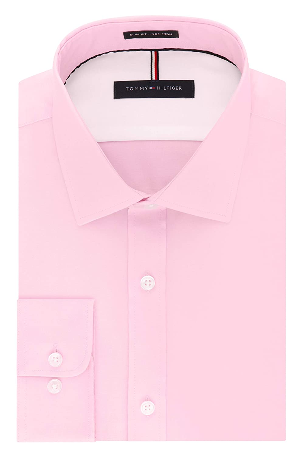 Tommy Hilfiger Mens Dress Shirt Slim Fit Non Iron Solid