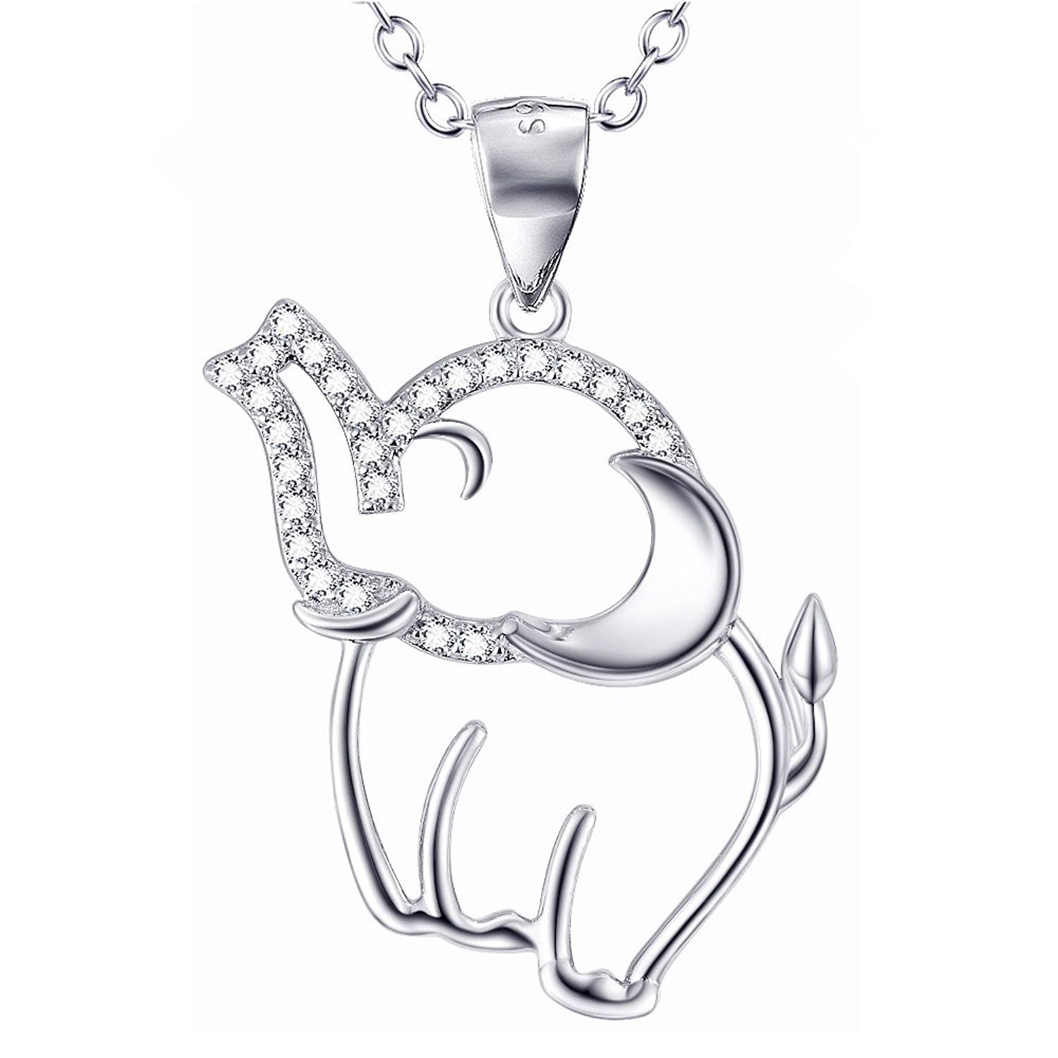 925 Sterling Silver Cubic-Zircon Good Luck Elephant Rhinestones Pendant Necklace Women 18'' Love Silver LSN102-105