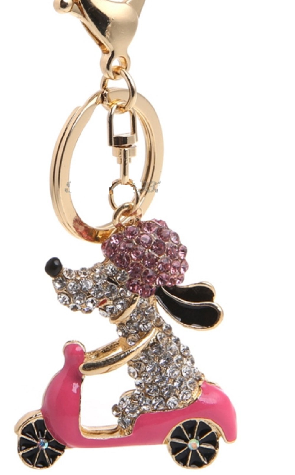 Snoopy DOG Riding Pink Scooter Key Chain is Embellished with Pink & Clear Crystal Rhinestones.Gold Ring & Lobster Claw.Perfect Gift for the Woman in your Life who Loves to Ride: