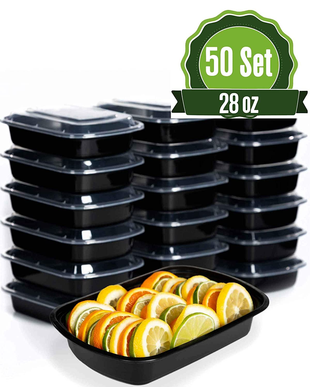 Safeware Meal Prep 1 Compartment Containers with Lids-28oz [50 Set] Ideal-Lunch Containers, Food Prep Containers, Food Storage Bento Box, Portion Control | Stackable | Microwave | Dishwasher | Freezer