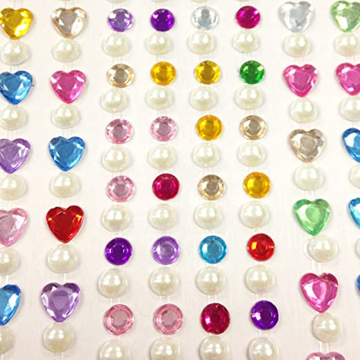 Wrapables 164-Piece Crystal Star and Pearl Stickers Adhesive Rhinestones Set Pink