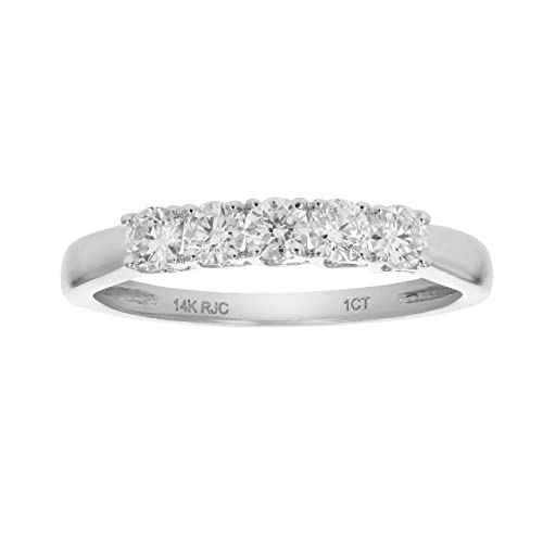 7989d4e6741bf 1/2 CT 5 Stone Diamond Ring 14K White Gold | Amazon.com