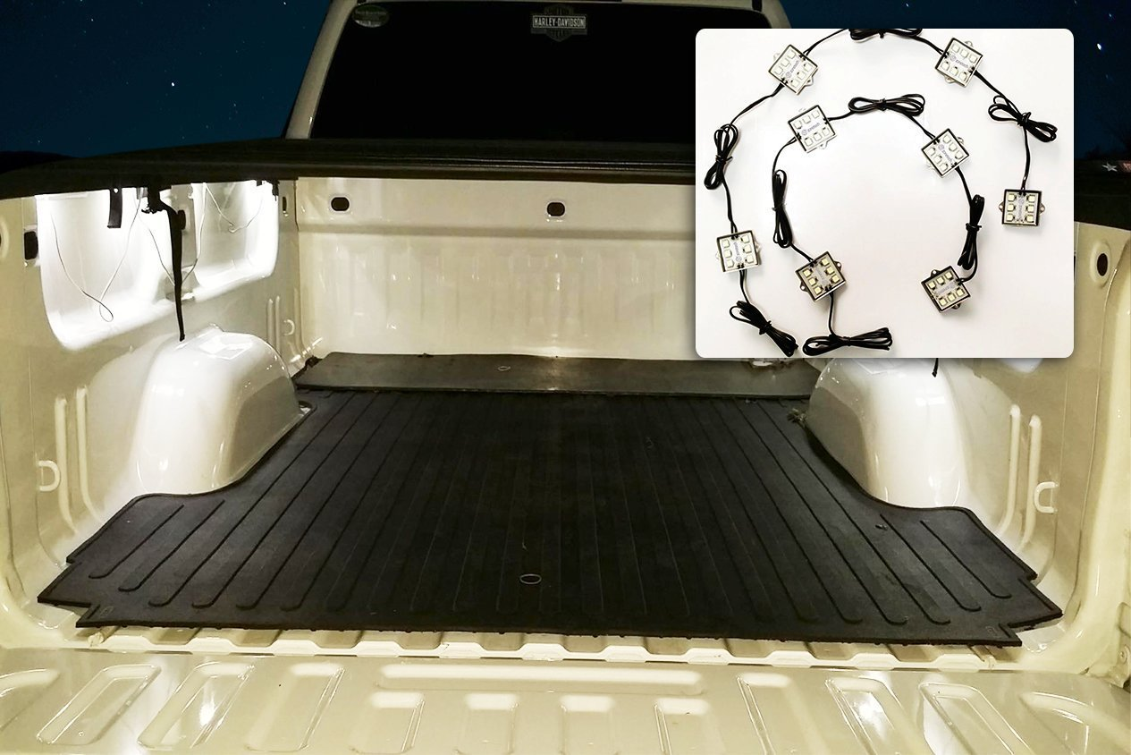 Zone Tech 8 Piece Universal Premium Quality Waterproof Pure White Truck Bed LED Lighting 48 Ultra Bright SMDs for Pickups- Motorcycles-Trucks-Boats and Under Cabinet Lighting Kit LI0033