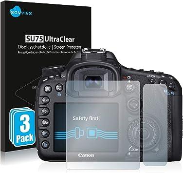 Savvies 6X Schutzfolie kompatibel mit Canon EOS 7D Mark II Displayschutz-Folie Ultra-transparent