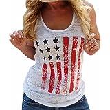 QIYUN.Z Les Femmes De La Mode Patriotique Drapeau Americain Imprime Sans Manches Camisole Debardeur Blanc