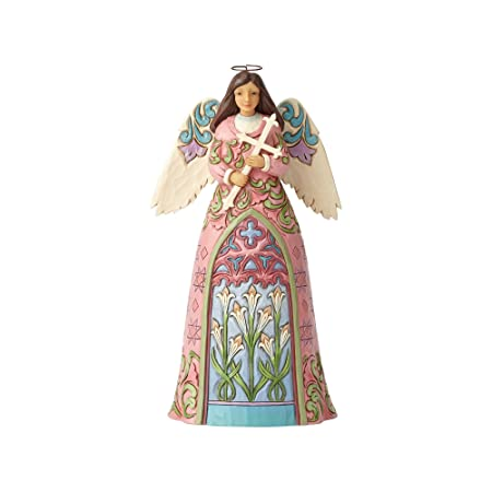Enesco Jim Shore Heartwood Creek Angel with Cross and Lilies