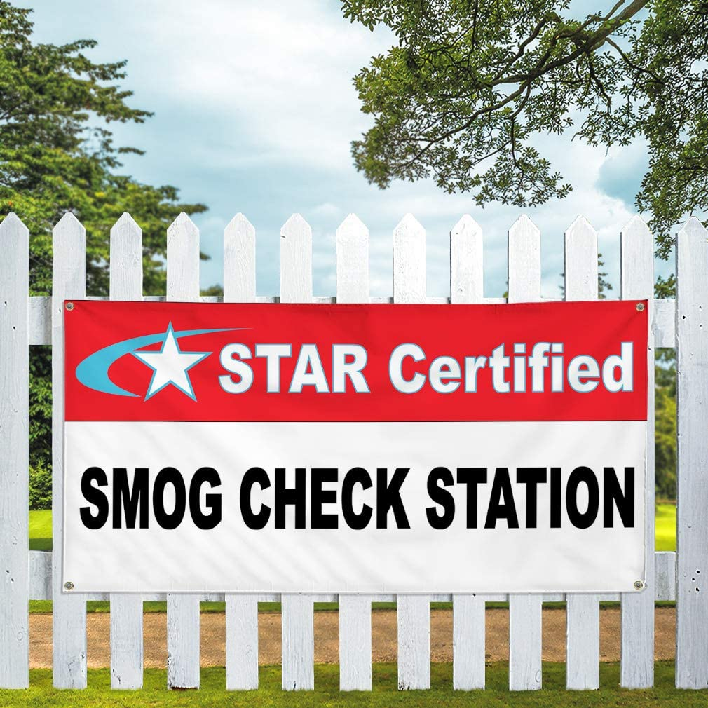Vinyl Banner Multiple Sizes Star Certified Smog Check Station Red Black Business Outdoor Weatherproof Industrial Yard Signs 10 Grommets 60x144Inches