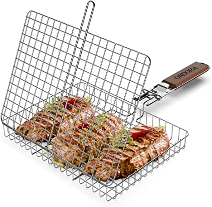 Heavy BBQ Grilling Basket for Corn Chicken,Non Stick Large Surface