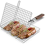 ORDORA Portable Fish Grill Basket, BBQ Grilling Basket for Outdoor Grill, Rustproof 304 Stainless Steel Grill Accessories, He