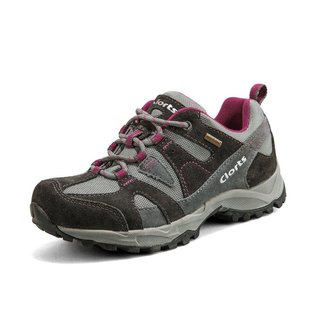 Clorts Women's Suede Waterproof Hiking Shoe Walking Sneaker Trail Shoes Grey HKL-828D US7.5