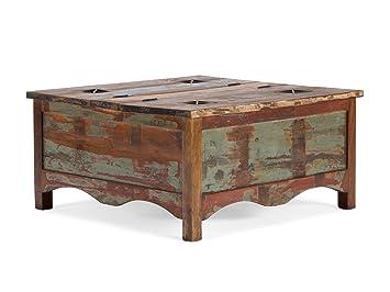 Massivum Couchtisch Cruzar 90x45x90 Cm Recyceltes Holz Bunt Gewachst