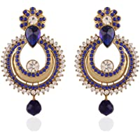 I Jewels Traditional Gold Plated Chand Shaped Dangle & Drop Earrings For Women E2234Bl (Blue)