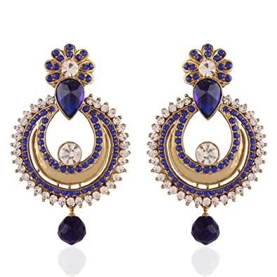 Buy I Jewels Traditional Gold Plated Chand Shaped Earrings for Women  E2234Bl (Blue) at Amazon.in