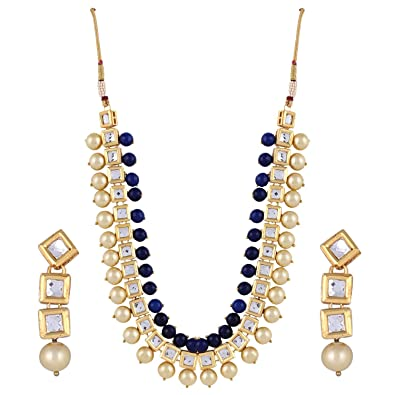 656abc68677e44 Buy Shining Diva Fashion Jewelry Kundan Pearl Fancy Jewellery Set/Traditional  Necklace Set with Earrings for Women & Girls(Blue)(8645s) Online at Low  Prices ...