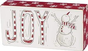 Primitives by Kathy Christmas Block Print Joy Snowman Box Sign