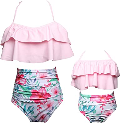 Toddler Baby Girls Bikini Set Family Matching Mummy and Me Swimsuit Swimwear Women-S, White Balck