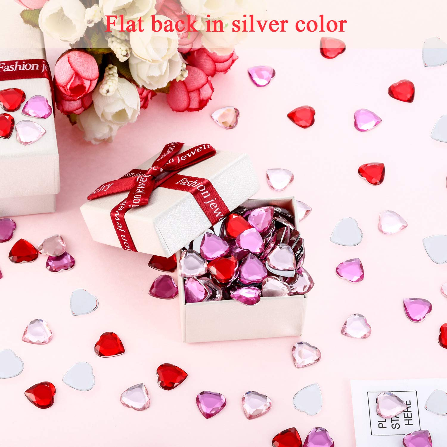 400 Pieces Flat Back Heart Rhinestones 0.5 Inch Wedding Heart Table Scatter Decoration Red//Pink Acrylic Heart for Valentines Day