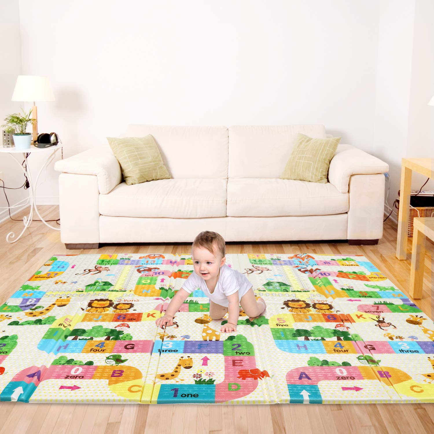 Bammax Play Mat, Folding Mat Baby Crawling Mat Kids Playmat Waterproof Non Toxic for Babies, Infants, Toddlers, 70 x 77.5 x 0.6