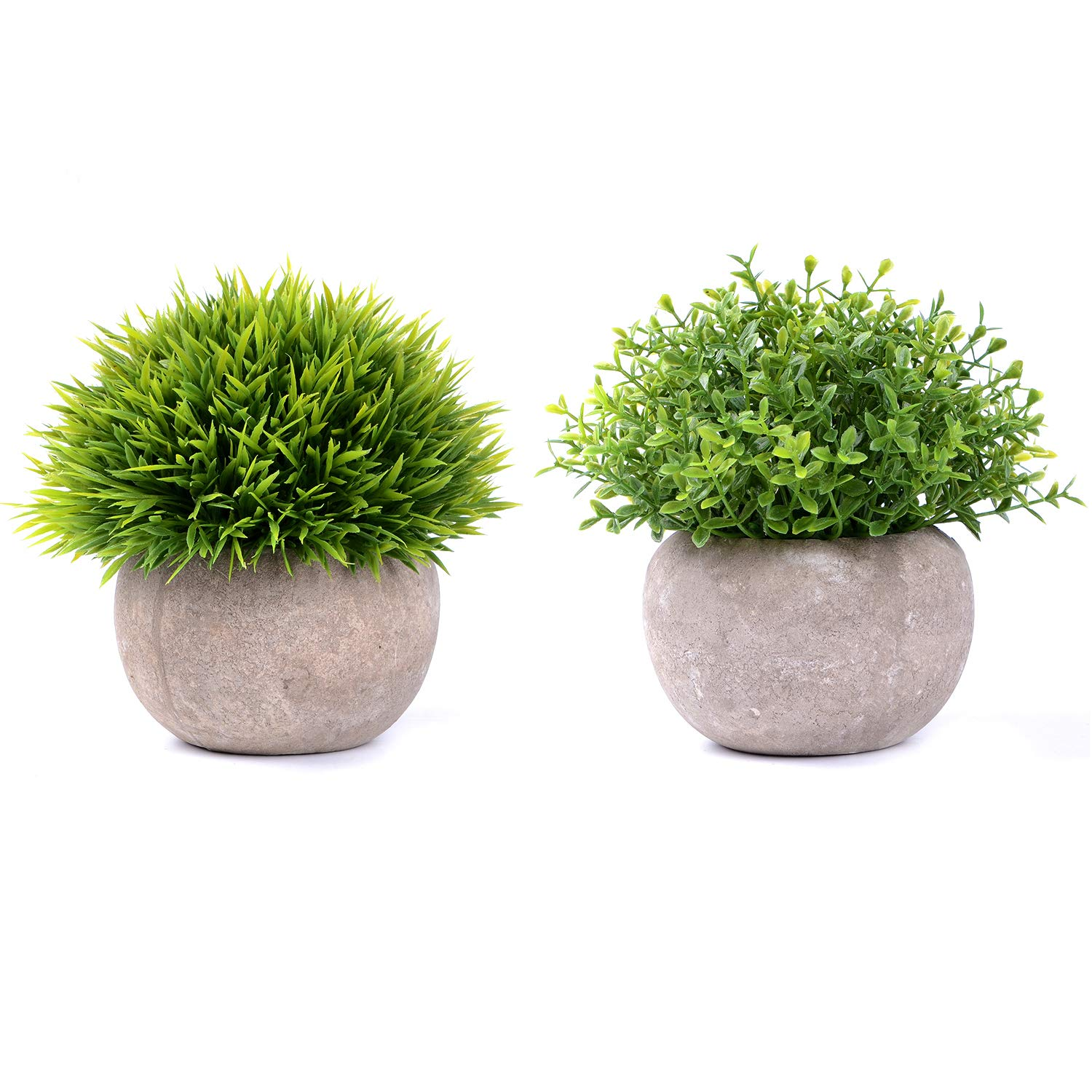Artiflr Small Artificial Potted Plants - 2 Pack Mini Fake Green Plants with Gray Pots for Home Decor