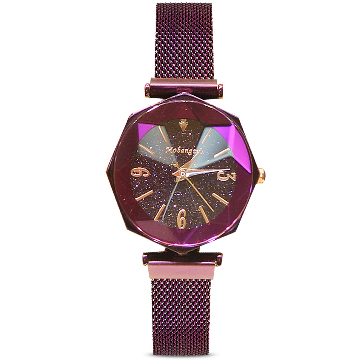 RORIOS Fashion Analogue Quartz Watches Magnetic Mesh Band Starry Sky Dial Simulated Diamond Wrist Watches for Girl/Ladies Waterproof