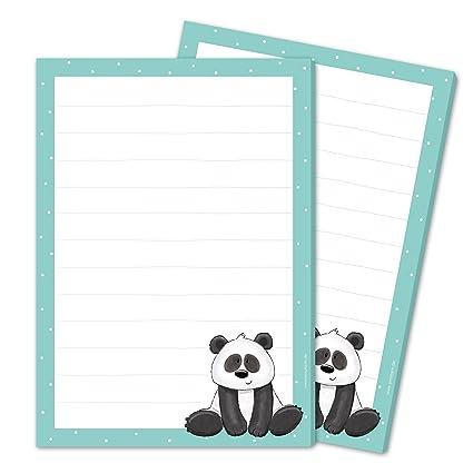 2 x bloque de texto/carta bloque Paul Panda DIN A5 ...