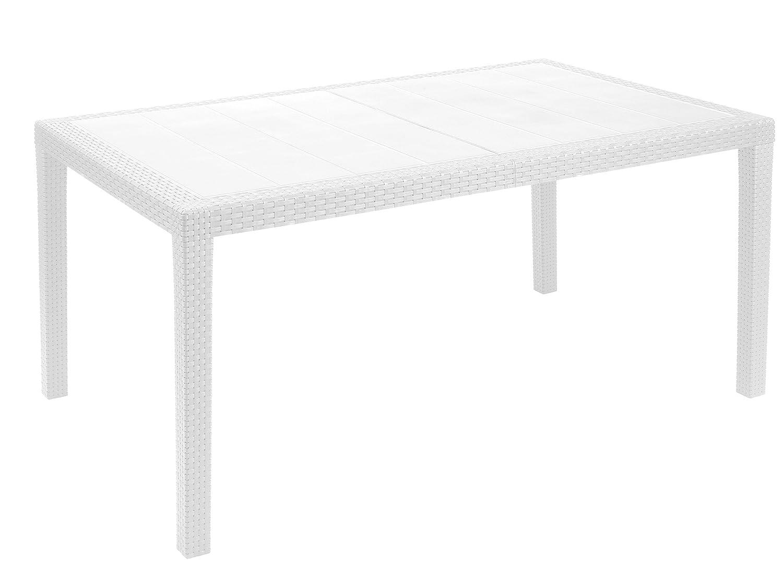 Kunststoff Gartentisch Prince weiß in Rattan Optik, 150 x 90 cm, von IPAE Progarden, Made IN Europe