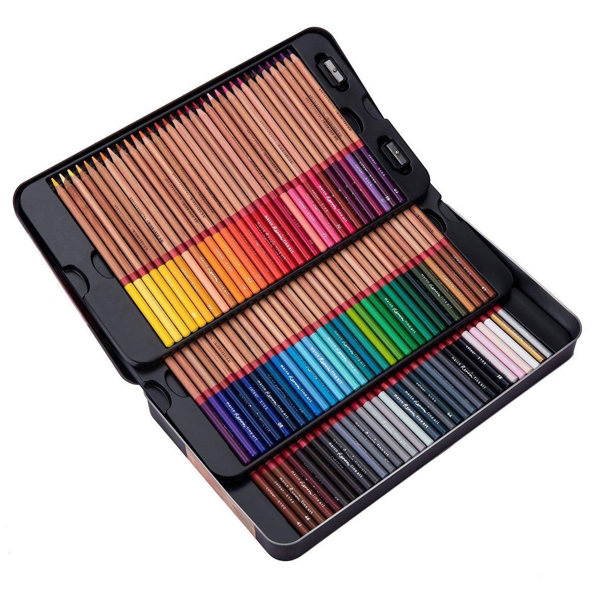 Meeden 100 farbige Bleistifte mit Zinn Fall Erwachsene für Erwachsene Fall Malbuch a3c6c4