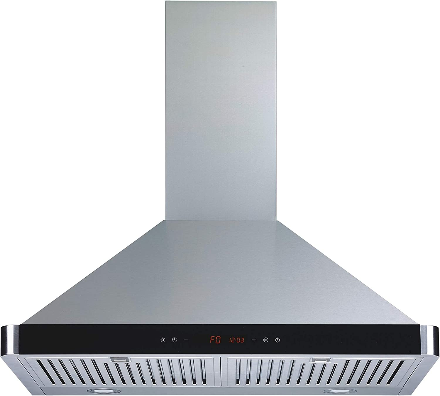 "Winflo 30"" Wall Mount Stainless Steel Convertible Kitchen Range Hood with 450 CFM Air Flow, Touch Control, Stainless Steel Baffle Filters and Ultra Bright LED Lights"